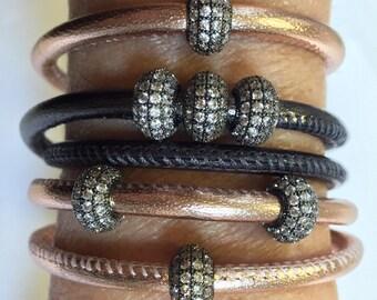 SALE! Leather wrap bracelet™, single or double wrap,metallic leather,3 colors, quartz diamond beaded bracelet , stunning gift, wrap bracelet