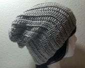 CLEARANCE Light Brown Slouch - Crochet Slouchy Beanie - Slouchy Hat - Ribbed Beanie - Hipster Hat