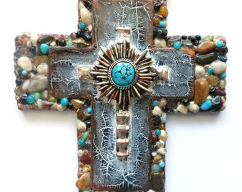 Wall cross crosses CROSS CHRISTMAS GIFTS one of a kind found object mixed media religious wall decor handmade art crosses