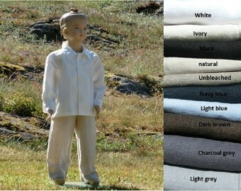 Boys linen pants. Toddler trousers, many colors. Boys wedding attire. Boys linen clothes. Ring bearer pants. Toddler boy linen pants