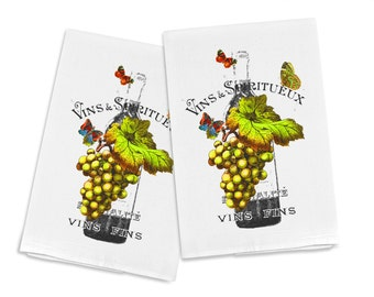 100% Cotton Flour Sack Chef's Kitchen Dish Towel Grapes and Butterflies on Wine Bottle Great Hostess Gift (one towel)