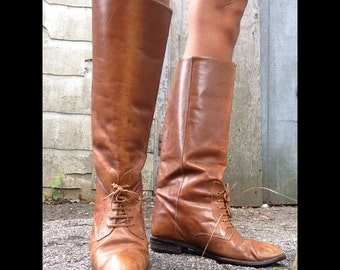 Vintage 70s Leather Riding Boots 6.5 60S Brown Festival Boho Boots