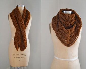 Xlarge Summer Shawl / knit Scarf / Triangle Shawl / blanket scarf/ Chestnut brown /All seasonal accessories / Made in USA Knits
