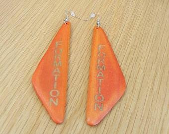 Orange Formation Earrings, Wood Earrings, Earrings