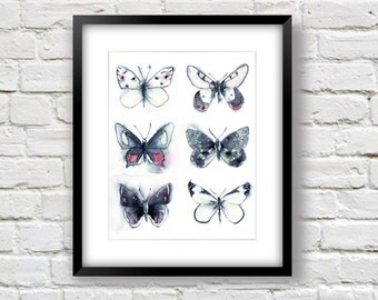 Neutral Butterfly Print - Grey and Pink Butterfly Collection Print - Watercolor Butterfly