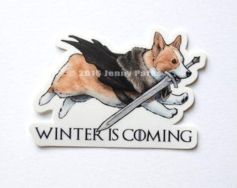 Winter is Coming Corgi Sticker