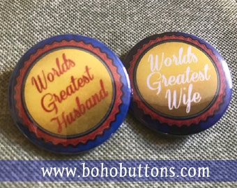 World's Greatest Wife Pinback Button, World's Greatest Husband Magnet, Wedding Gift, Love Keychain, Married and Loving It, Newlyweds