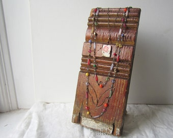 Necklace Display for Multiple Lengths - Antique Architectural Salvage - Recycled Wood - Retail Jewelry Display