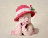 Christmas Felts Hat~Felted Newborn Hat ~Felted Bowler~Baby felt hat~Hand knit felted~Organic hat~ Newborn photo prop~infant prop~baby hat