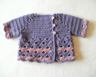 Crocheted Baby Girl's Purple and Pink Baby Sweater Purple Baby Sweater Baby Girl's Pink and Purple Sweater Short Sleeve Baby Sweater