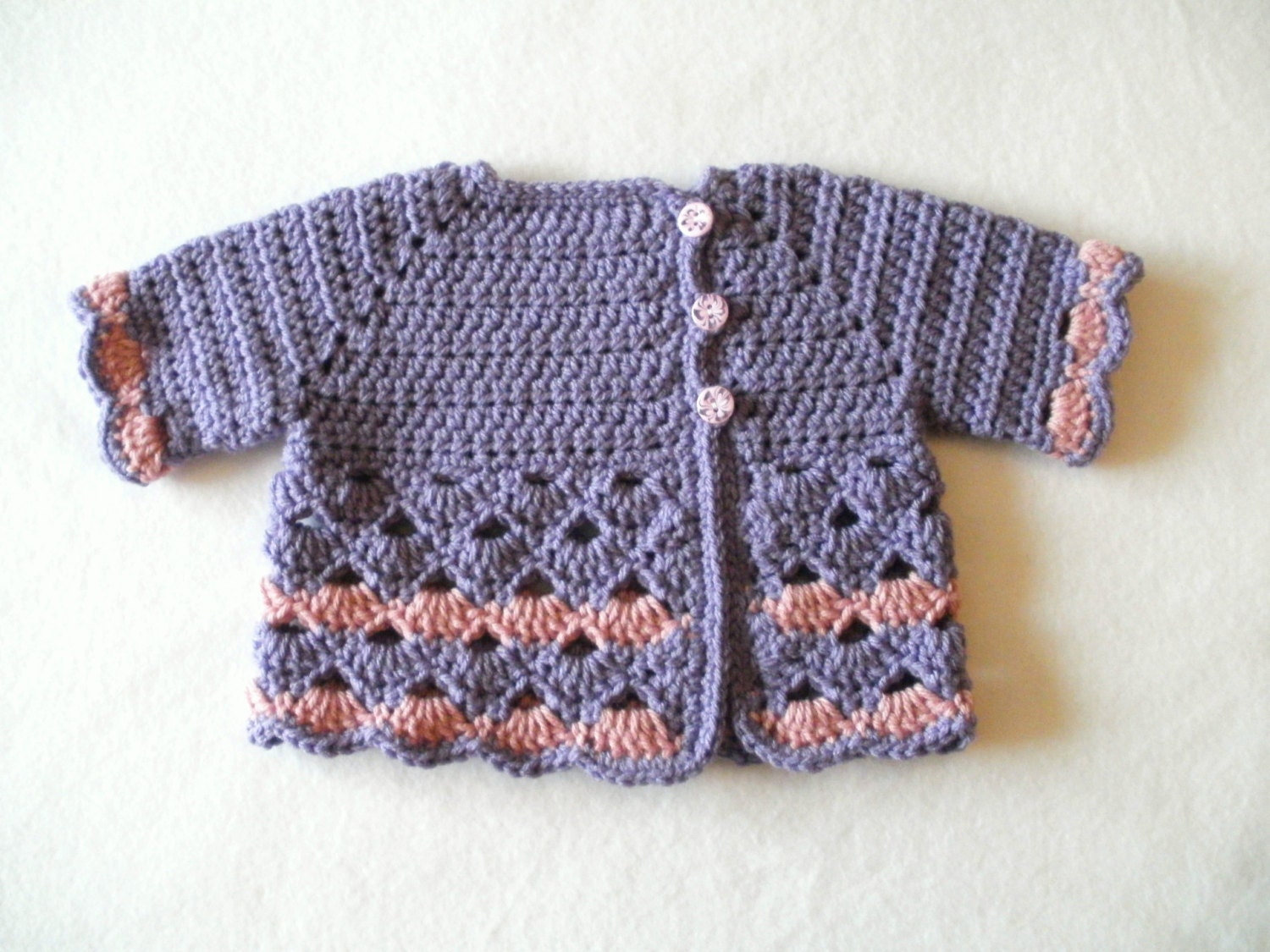 Crocheted Baby Girl's Purple and Pink Baby Sweater Purple