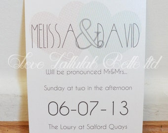 Heart, Dots & Stripes Wedding Invitation