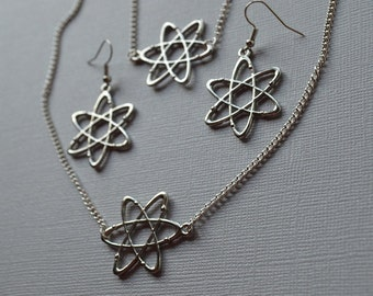 Biolojewelry - Atom Science Bracelet Earrings and Necklace Set