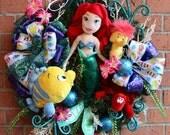Little Mermaid Wreath, Ariel Wreath, Flounder, Sebastian Crab, Seahorse, Disney Princess Girl Nursery Decor READY TO SHIP