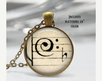 Bass Clef Necklace, Vintage Sheet Music Jewelry, Treble, Pendant, chain included X276