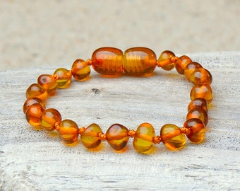 Amber Teething Anklet - Bracelet - Safety Knotted - Authentic Baltic Amber