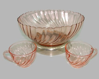 Arcoroc Rosaline Pink Swirl Glass Punch Bowl and 2 Cups, Pink Glass Salad or Fruit Bowl with Metal Base, Pink Coffee or Tea Cups, France
