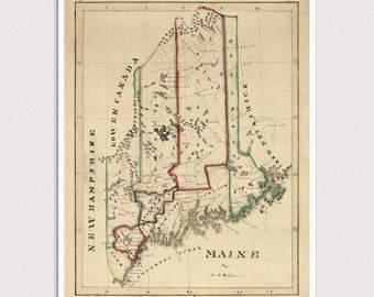 Old Maine Map Art Print 1820 Antique Map Archival Reproduction
