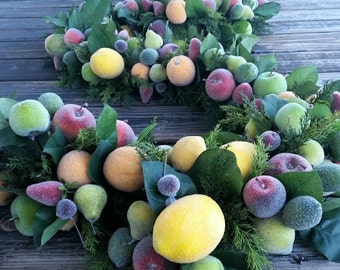 Garland, Fruit Garland, Sugared Fruit Garland, Christmas Garland, Holiday Garland, Wedding Garland