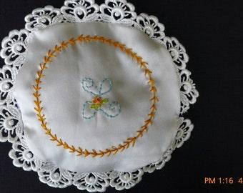 Hand embroidered silk lavender sachet, monogrammed