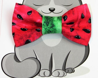 Watermelon Bow Tie for Cat, Dog Bow Tie, Collar Accessory, Cat Costume, Pet Wardrobe, Handmade in Canada,  Kitty Bow Tie, Summer, Fruit