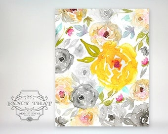 8x10 art print - watercolor floral collage - black and white tonal flowers with bright pops of colorful flowers
