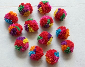25 Hmong hill tribe pompoms, traditional Thai cotton yarn pom poms, handmade Hmong hill tribe pompoms, multicoloured ethnic pom poms - 25