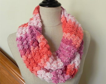 Bouquet cluster, hand crochet infinity scarf, shades of coral, peach, and rose, multicolor cowl #468, ready to ship