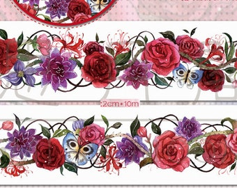 1 Roll of Limited Edition Washi Tape: Gothic Roses