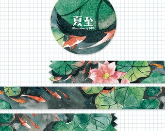 1 Roll of Limited Edition Washi Tape:  Summer, Pond, Koi