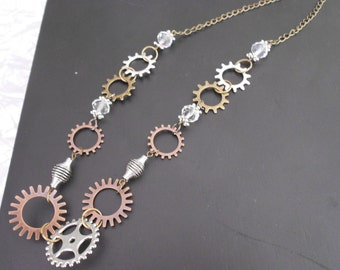 Steampunk Spokes and Springs Necklace