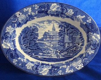 Woods and Sons Blue and White Transferware Serving Bowl