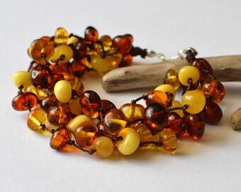 Organic Amber Bracelet Multicolor Linen Bracelet Modern Multistrand Jewelry Summer Fashion
