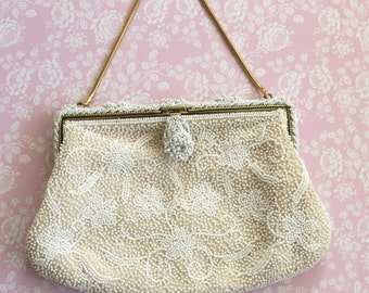 Sharonee White Bag Purse - Designer Frame Bag with White Beads - Evening Bag Purse - Gold Frame and Chain Handle - Hand Made in Japan