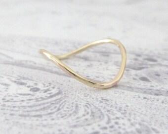 9ct Gold Ring - Rocking Wishbone - 9ct Yellow Gold - Skinny Wishbone Ring