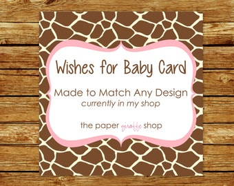 Made to Match Wishes for Baby | Made to Match Party Printables | Party Printables Made to Match Any Design in my Shop | Wishes for Baby Card