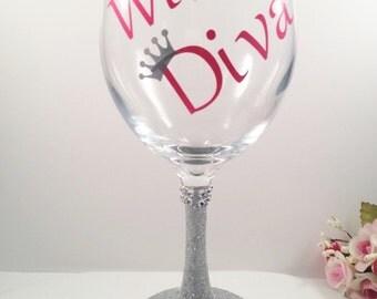 diva wine glass glitter wine glasses bling wine glass gifts for her