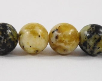"""Serpentine Stone Beads 8mm Round Yellow Turquoise Beads, Black and Green-Yellow Gemstone Beads on a 7 1/4"""" Strand with 23 Beads"""