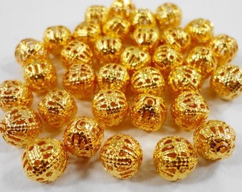 Gold Metal Beads 8mm Round Antique Gold Spacer Beads, Lightweight Ball Beads, Hollow Filigree Beads for Jewelry Making, 30 Loose Beads