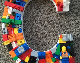 Custom toy brick  letter  C, C, rainbow