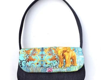 Denim shoulder bag. Handmade Top handle bag, elephant and peackock print purse.