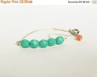 Valentines Day Gift Sale Mint and coral bracelet in Silver - Minimalist Jewelry