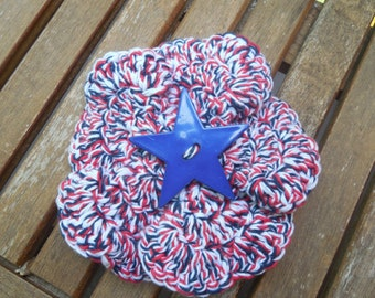 Summer Barrette, Patriotic Hair Accessory, 4th of July Flower Hair Clip, Red White & Blue Hair Clip, Floral Barrette, Girls Hair Accessories