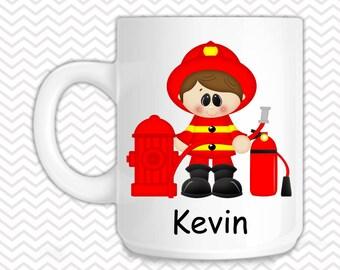 Fireman Kids Mug - Personalized Fireman Mug - Customized Mug - Melamine Cup - Personalized Kids cup