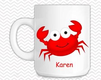 Crab Kids Mug - Personalized Crab Mug - Customized Mug - Melamine Cup - Personalized Kids cup