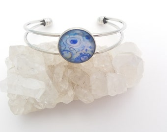 Bracelet Abstract Blue Bangle small 18mm cabochon