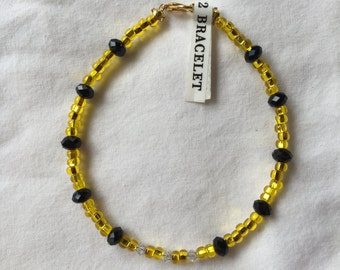 HC Bright Yellow and Black Crystal Bracelet 8 Inch