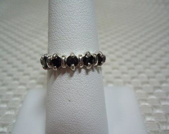 Black Sapphire 5-Stone Band Ring in Sterling Silver  1770