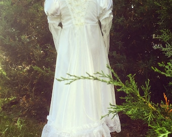 Girl's Regency Gown Satin & Lace Flower Girl Dress size 2T to 5T Jane Austen Gown, Floor Length,
