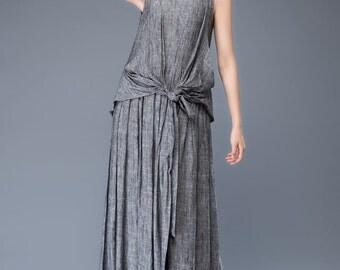 grey linen dress-sleeveless dress-round neck dress-tie belt dress C934